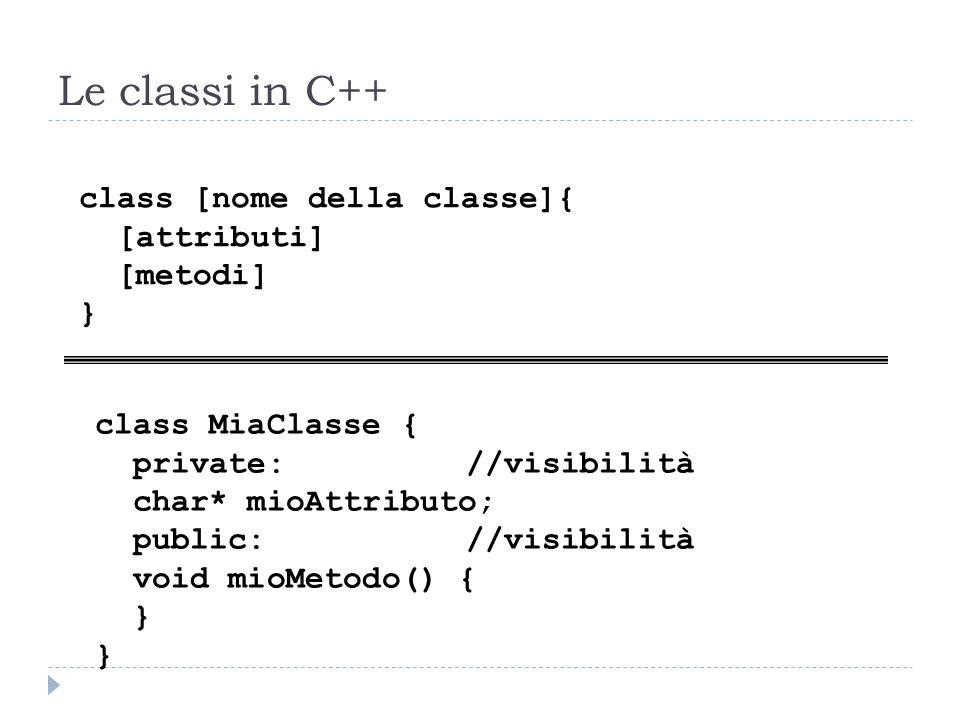 Le classi in C++ class [nome della classe]{ [attributi] [metodi] }